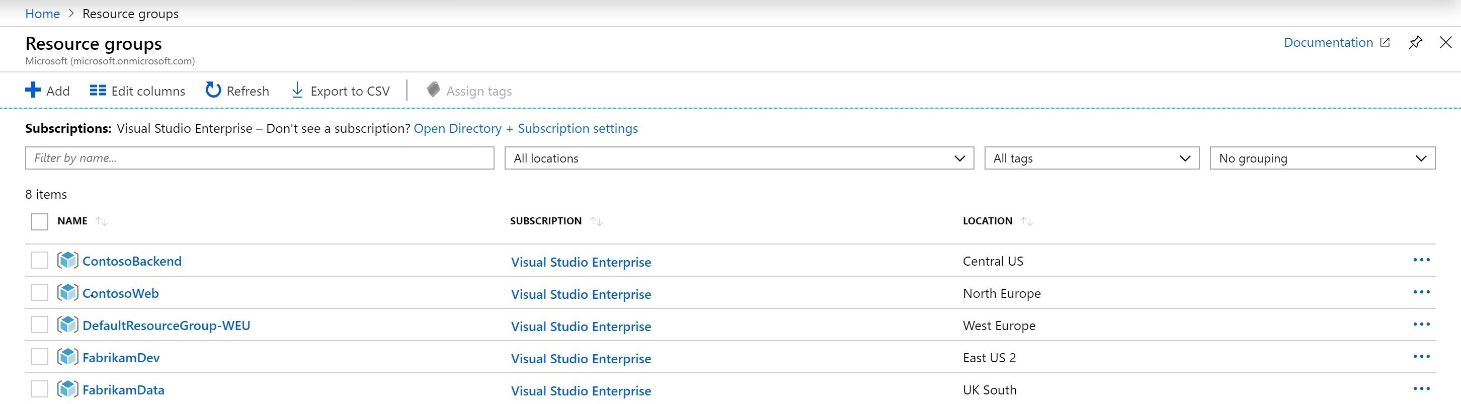Azure Portal Resource Groups View